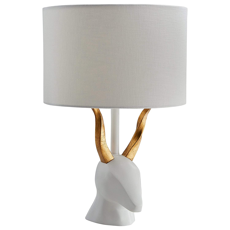 "Rivet Modern Deer Head Ceramic Lamp WithBulb, 19.5""H, White and Brass"