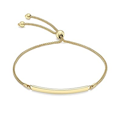 Carissima Gold 9 ct Yellow Gold Snake Chain Adjustable Bracelet, 23 cm/9 Inch