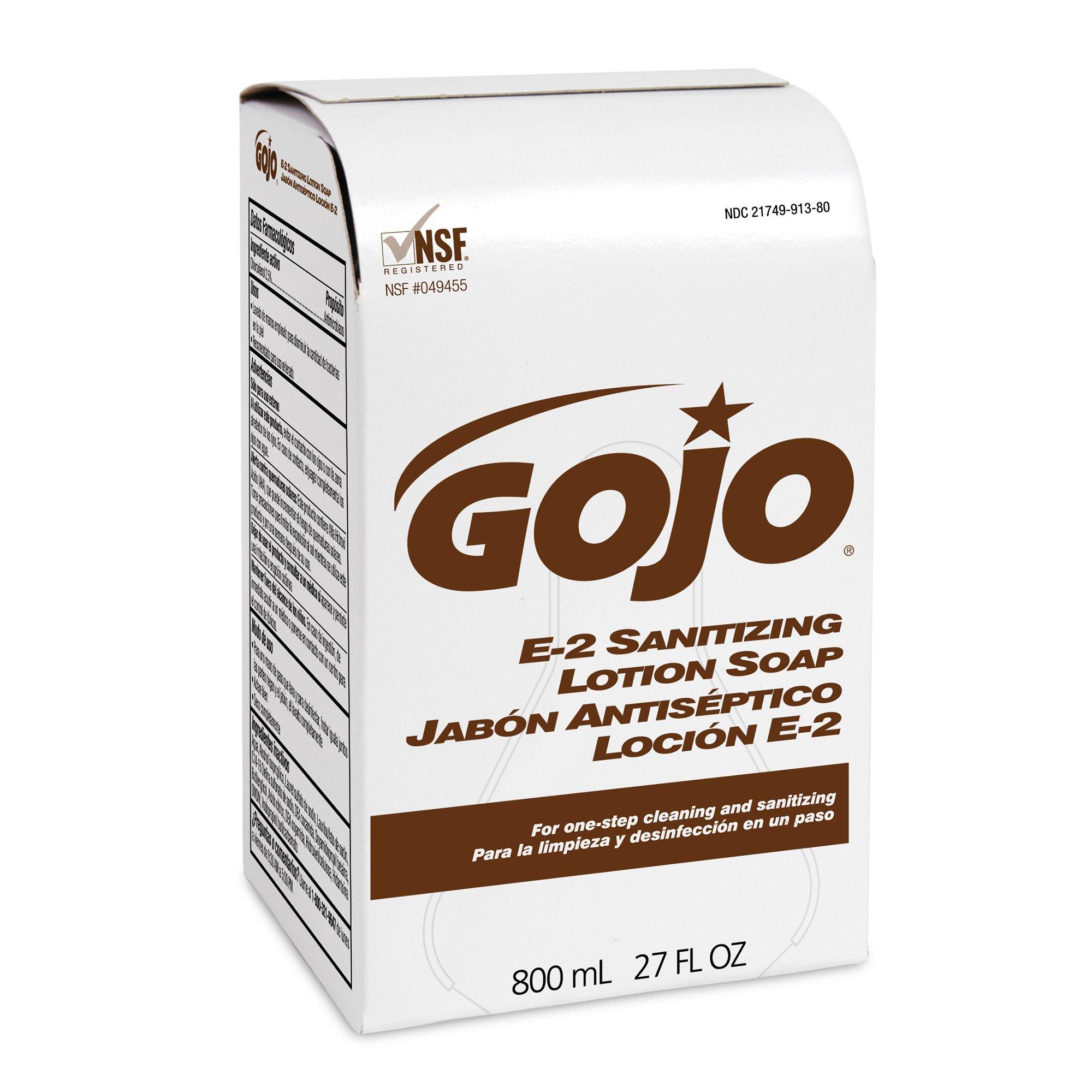 GOJO 800 Series E2 Sanitizing Lotion Soap, 800 mL Sanitizing Soap Refill for 800 Series Bag-in-Box Push-Style Dispenser (Case of 12) - 9132-12 by Gojo (Image #1)
