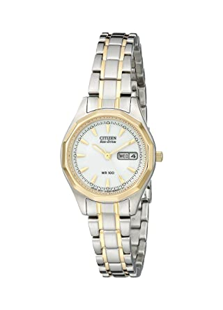 Amazon.com  Citizen Women s Eco-Drive Sport Two-Tone Watch with Date ... 142a85e3f9