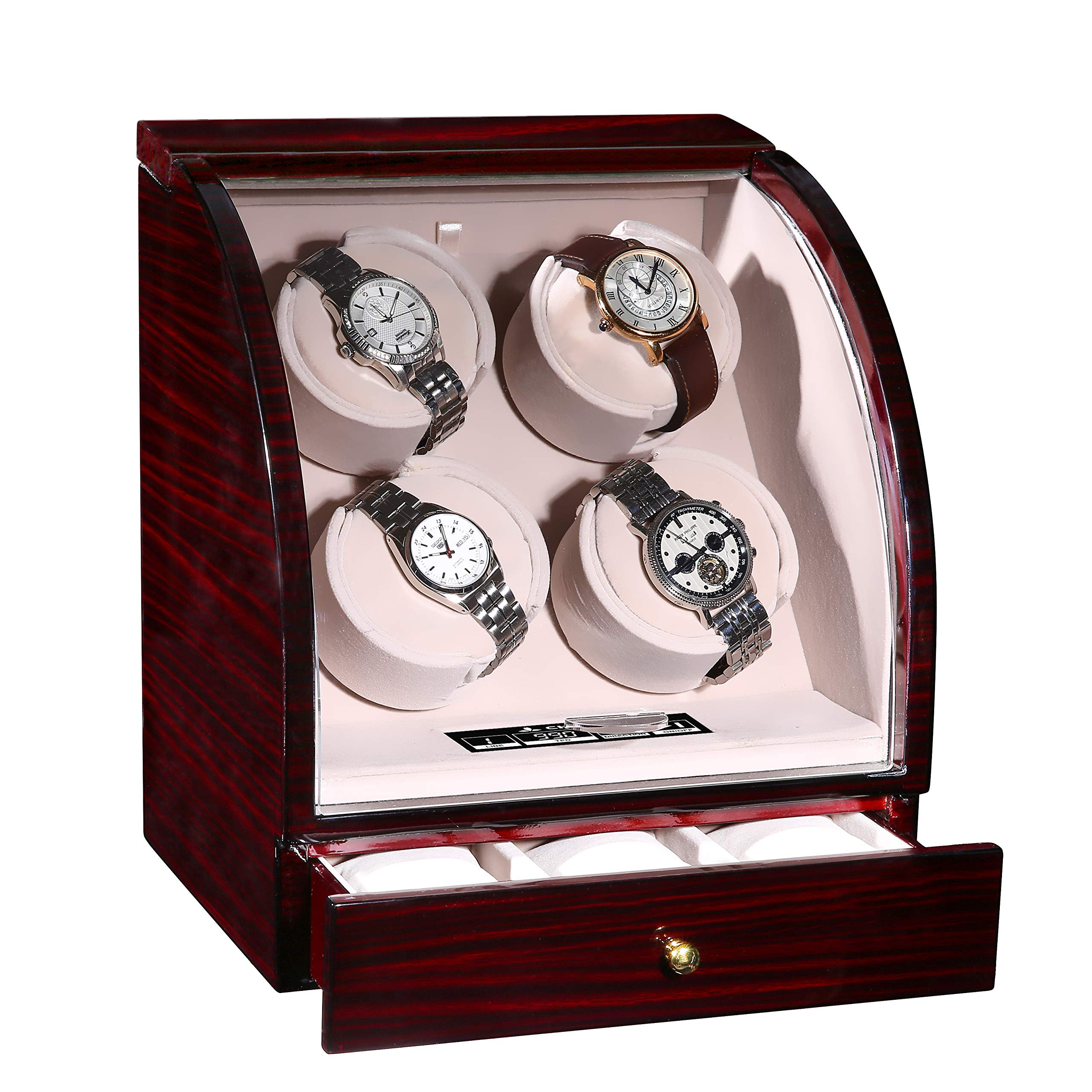 CHIYODA Automatic Quad Watch Winder with Independent Mabuchi Motors, LCD Digital Touch Display, 3 Jewelry Storage