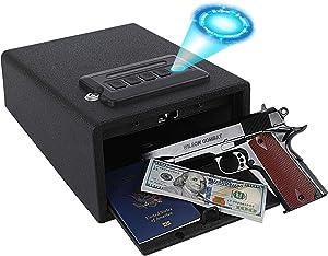 Dalmbox Biometric Gun Safe Gun Vault Smart Quick Access Fingerprint Pistol Safe Cabinet Handgun Lock Gun Lock Box for Home Car Bedside Nightstand H7