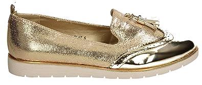 SWANKYSWANS George Womens Metallic Glitter Brogues Loafers Ladies Gold Flat  Shoes Sneakers 40