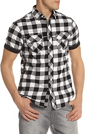 Mens Shirt DISSIDENT Designer Brushed Check Casual Short Sleeve S-XXL PEDROZA
