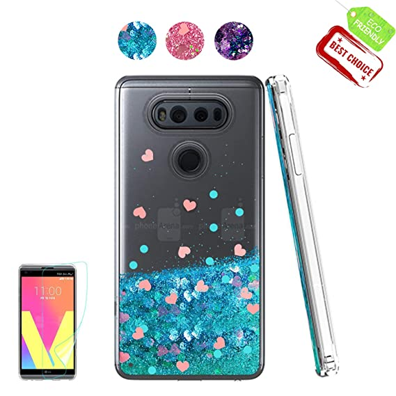 amazon com lg v20 case shiny glitter moving liquid clear with tpu