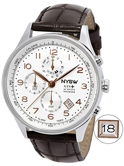 NYSW - Worlds 1st Hybrid Smartwatch for Men with Calendar. This Luxury Fitness Tracker Analog smartwatch with Direct Steps Reading on Dial Advanced ...