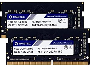 Timetec Hynix IC 32GB Kit (2x16GB) DDR4 2400MHz PC4-19200 Non ECC Unbuffered 1.2V CL17 2Rx8 Dual Rank 260 Pin SODIMM Laptop Notebook Computer Memory Ram Module Upgrade S Series (32GB KIT(2x16GB))