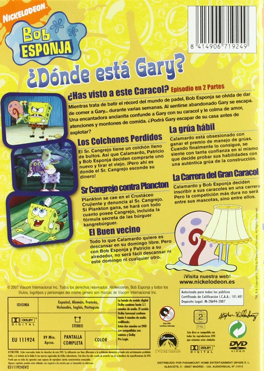 Bob Esponja: ¿Dónde está Gary? [DVD]: Amazon.es: Stephen Hillenburg: Cine y Series TV