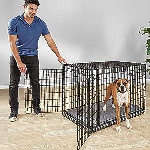 Petco Brand - You & Me Ultra Tough 2-Door Folding Dog Crate, 43