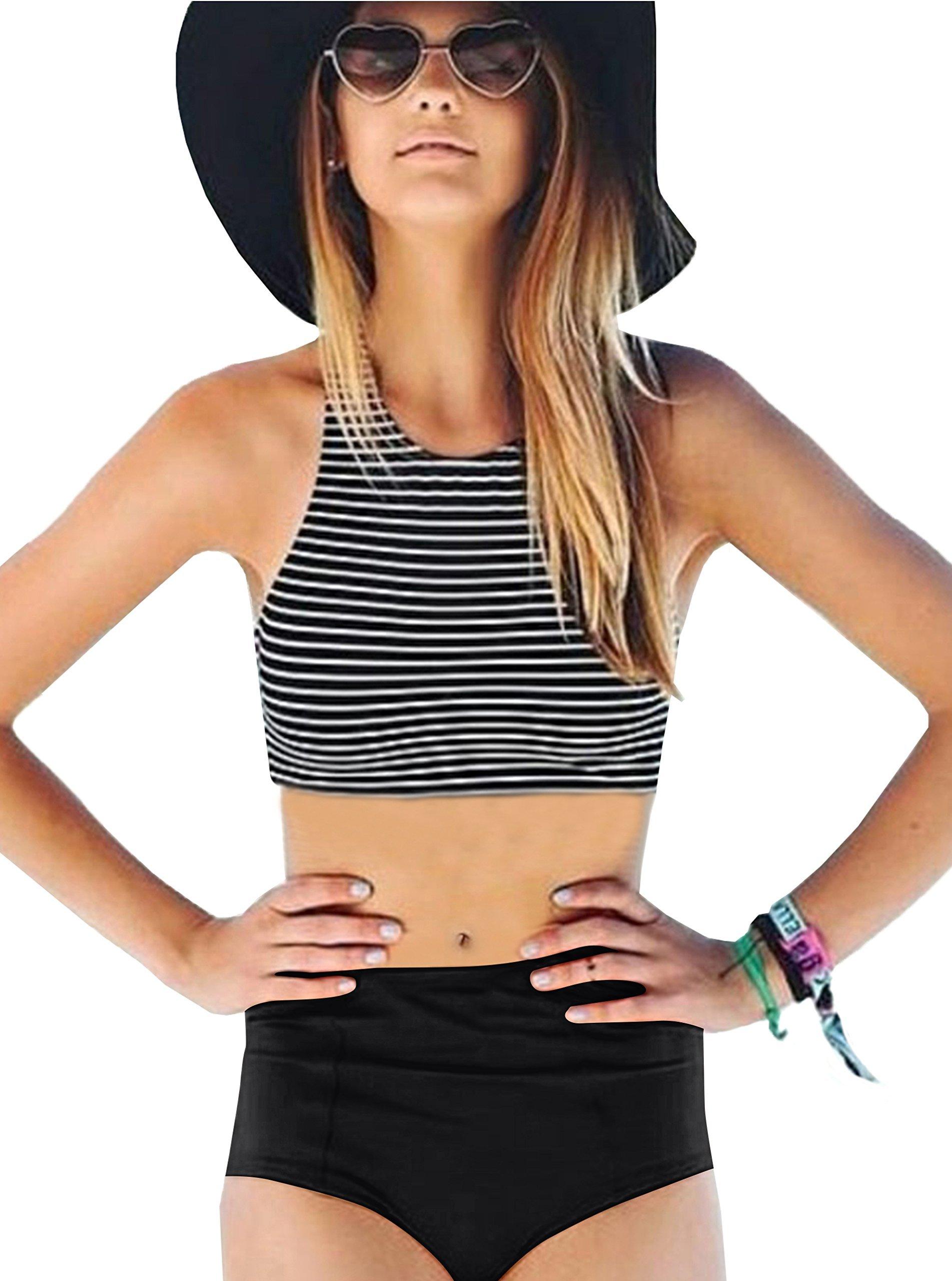 ZITY Stripe Racerback Swimsuit for Women,2PCS Stripe Racerback High Waisted Swimsuit Black XL
