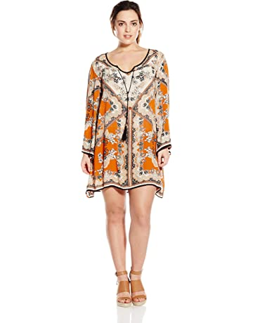 5ffab0273e Angie Women s Juniors Plus-Size Spice Printed Bell-Sleeve Dress