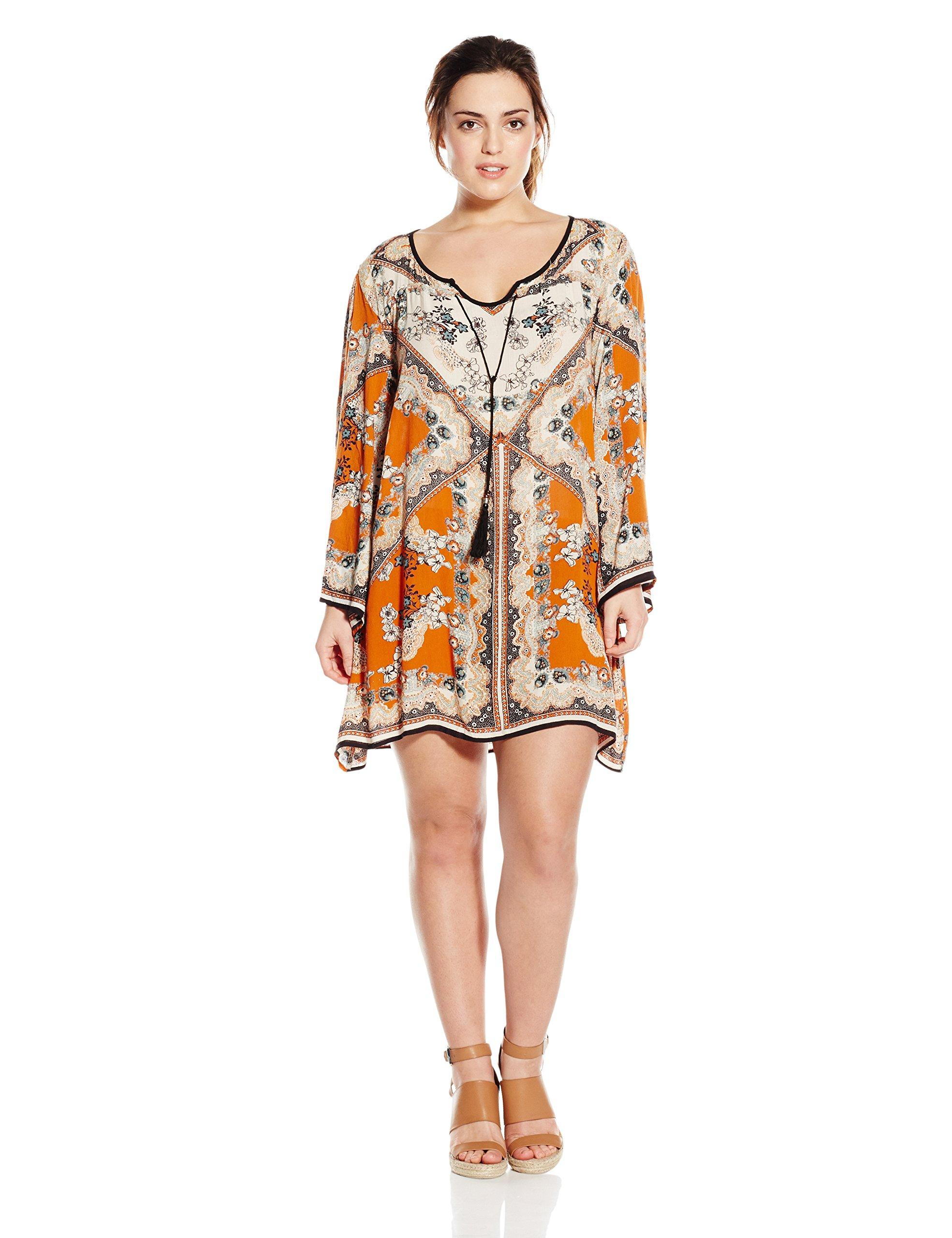 Angie Junior's Plus-Size Printed Bell Sleeve Dress, Spice, 1X