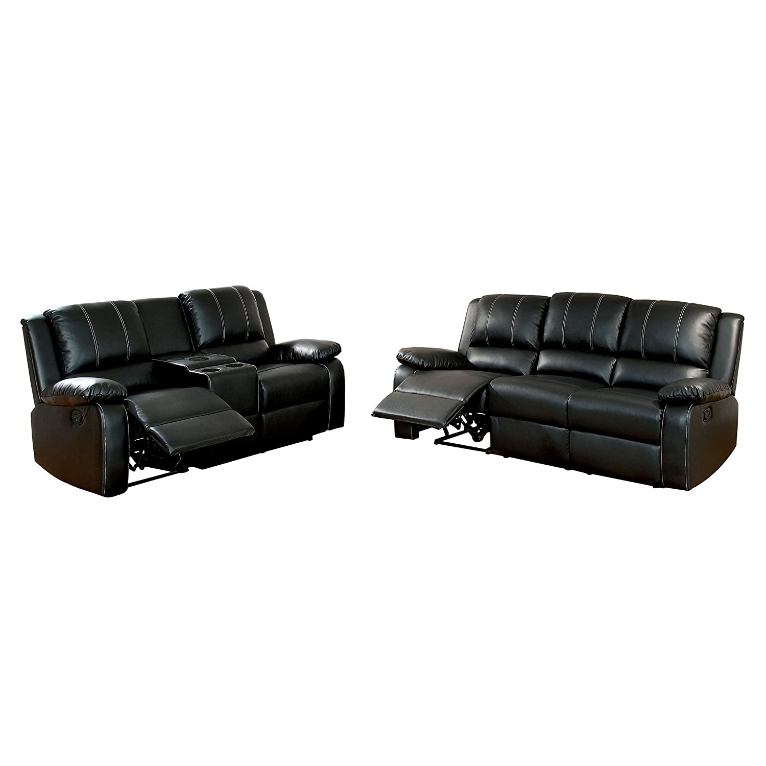 Amazon Com Homes Inside Out Ricco Bonded Leather Match 2 Piece
