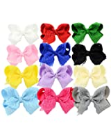 YOY Fashion Baby Girls Grosgrain Ribbon Boutique Hair Bows with Alligator Clips - Headdress Costume Accessories for Toddlers Teens Kids