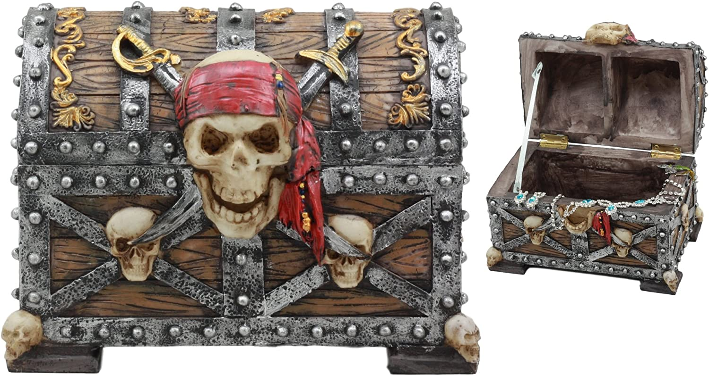 Ebros Large Caribbean Pirate Marauder Skull With Criss Cross Blades Treasure Chest Box Jewelry Box Figurine 7 25 Long Home Kitchen