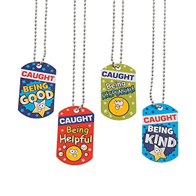 Fun Express Caught Being Good Dog Tag Necklace - 12 Pieces - Educational and Learning Activities for Kids: Toys & Games