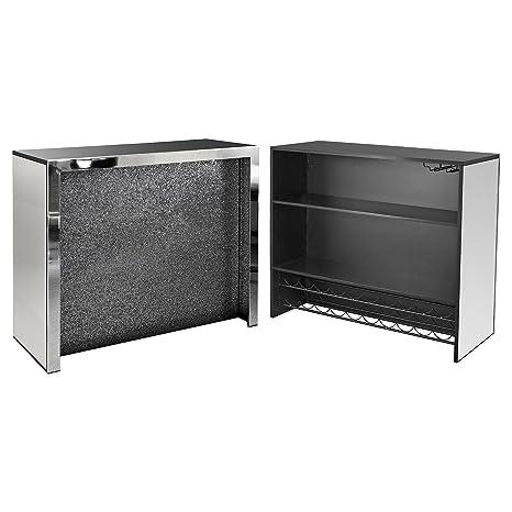 Febland Glitter Front Home Bar Unit Wood Black 120x48 5x105 Cm