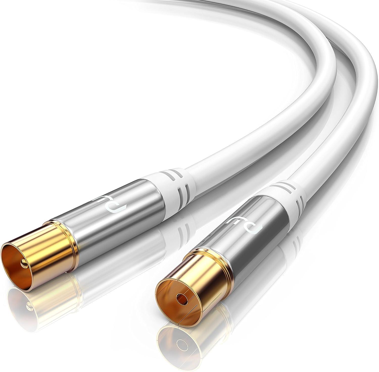 CSL-Computer 3m Cable de Antena HQ HDTV Premium - Factor de blindaje 135 dB - Resistencia 75 ohmios - Cable coaxial - Clavija coaxial Macho a Hembra - ...
