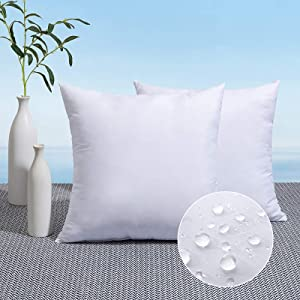 MIULEE Pack of 2 Outdoor Pillow Inserts Waterproof 22x22 Throw Pillow Inserts Premium Hypoallergenic Pillow Stuffer Sham Square for Patio Furniture