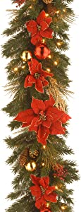 National Tree Company Pre-lit Artificial Christmas Garland Decorative Collection | Flocked with Mixed Decorations and White Lights | Home Spun - 9 ft