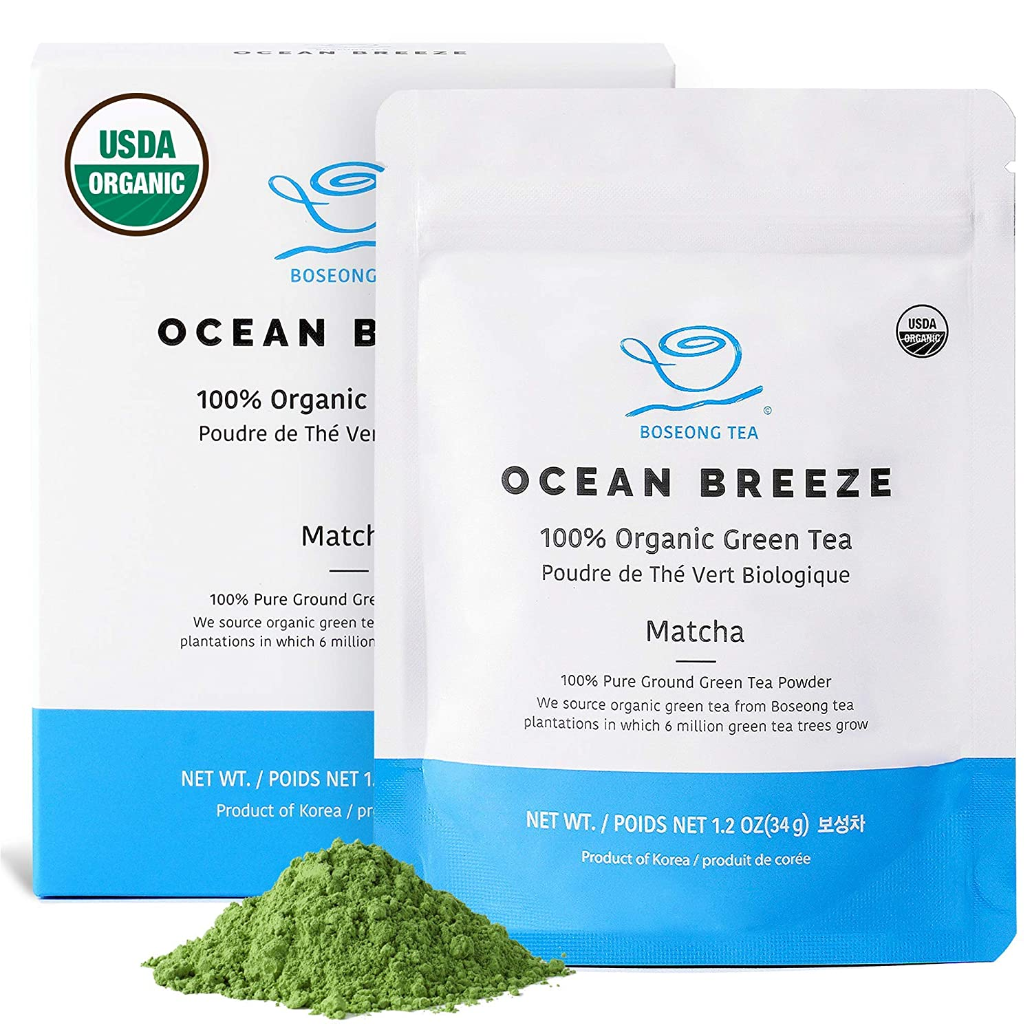 Organic Matcha Green Tea Powder 1.2 oz - Authentic South Korean Origin USDA Organic Non-GMO 100% Pure Hand Picked Vegan Organic Green Tea Korean Food - Superfood