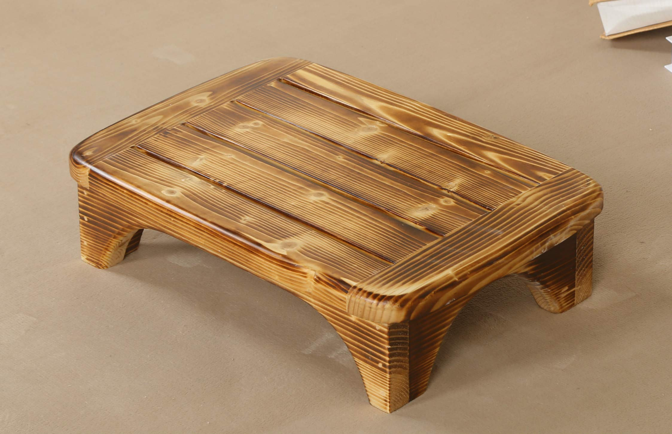 Welcare Burned-Handcrafted 100% Solid Wood Step Stool-Foot Stool Kitchen Stools Bed Steps small step ladder Bathroom Stools by URFORESTIC
