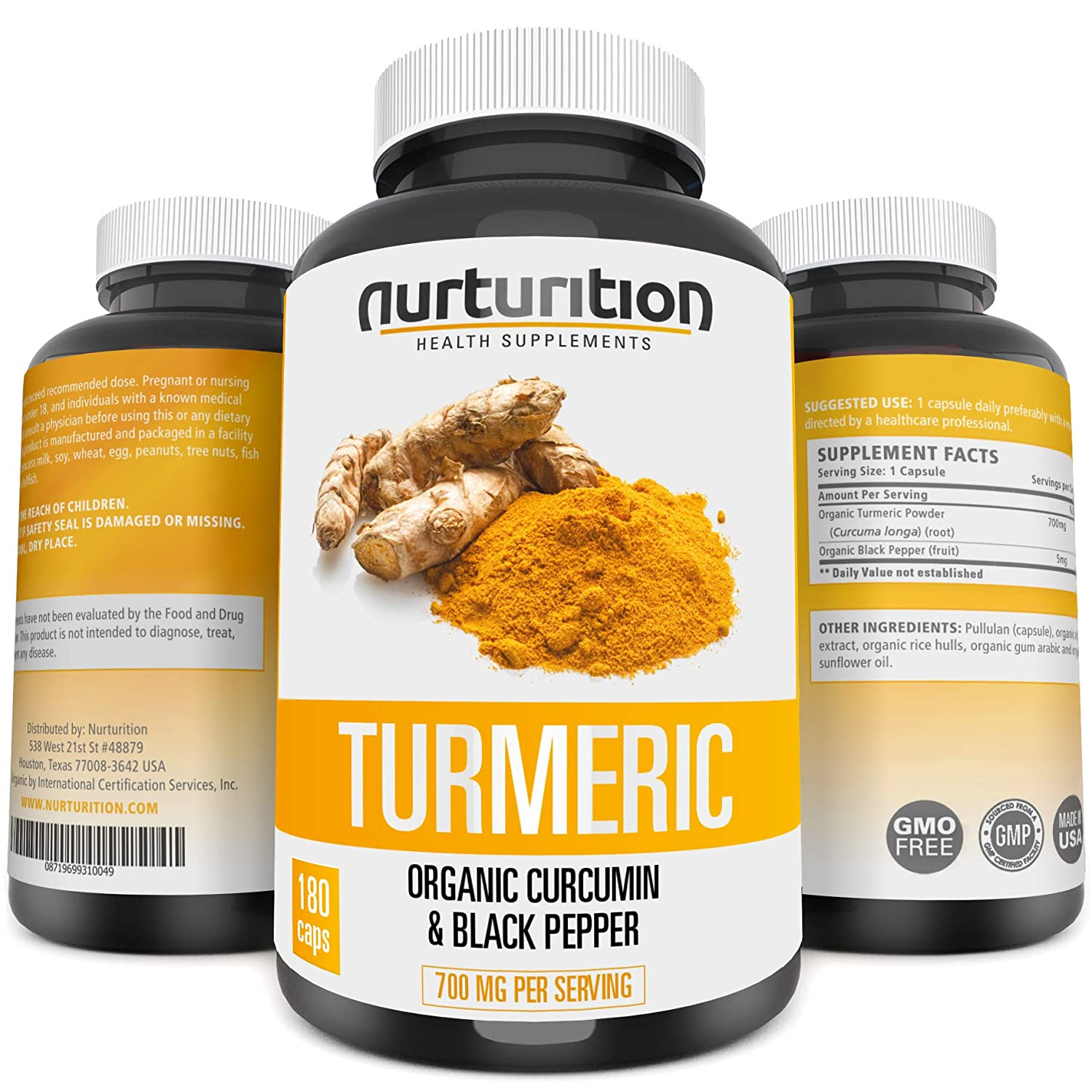 Amazon.com: Organic Turmeric Curcumin - Joint Pain Relief and Support - with Bioperine/Black Pepper Highest Absorption - Tumeric Non-GMO Supplements - High ...