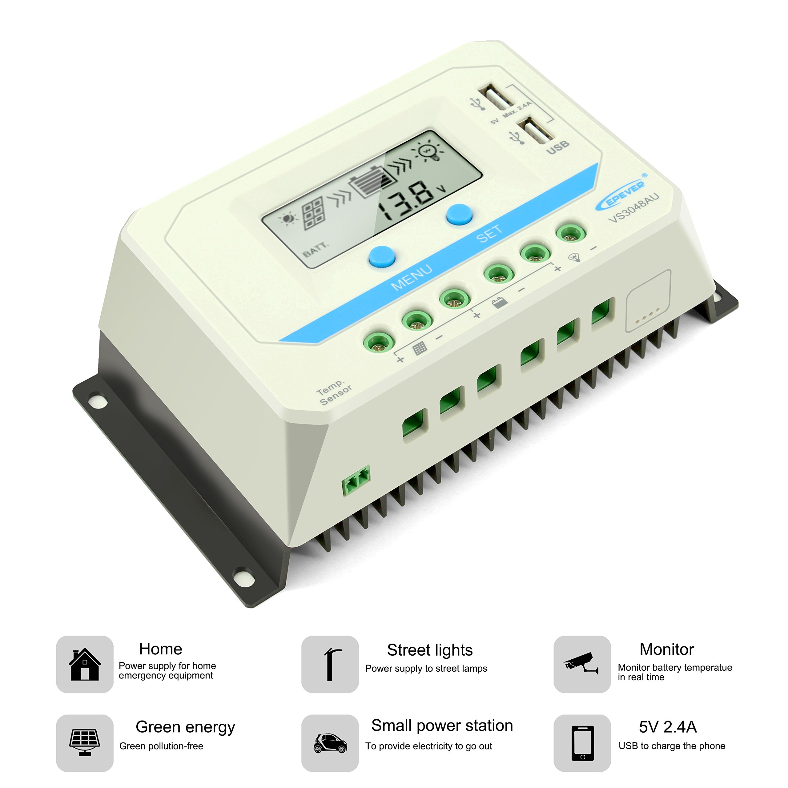 EPEVER 30A Solar Charge Controller, 12V/24V/36V/48V Intelligent Regulator with Dual USB Port PWM LCD Display