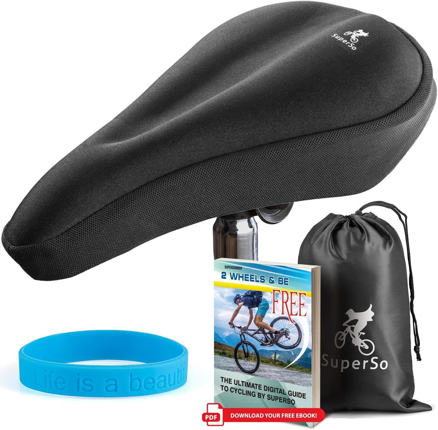 Comfort Extra Soft Padded Gel Bike Seat Covers Bicycle Saddle Pad for Women and Men LuxoBike Exercise Bike Seat Cushion Cover Great for Indoor Cycling Class and Stationary Bikes Spin Bike