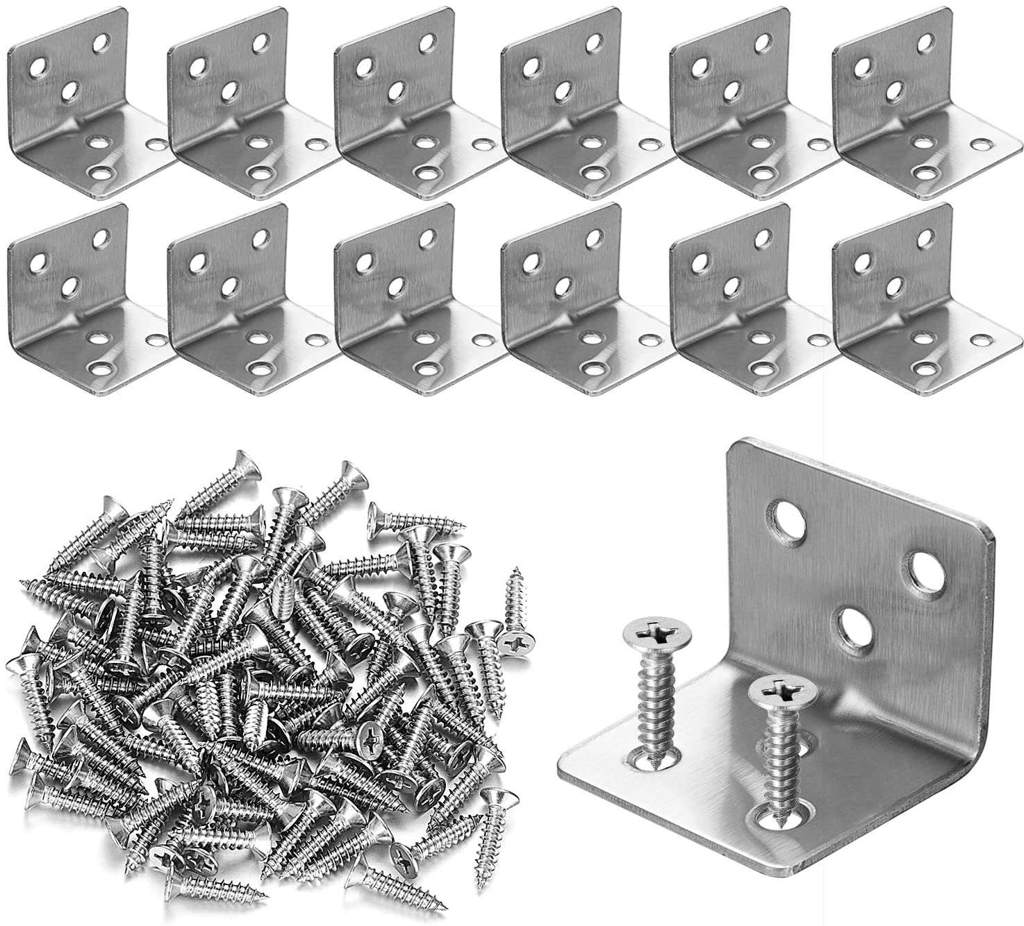 Heavy Duty L Bracket Desks Silver Joint Right Angle Bracket Fastener for Tables Chairs KEILEOHO 100 PCS 1.18 x 1.18 x 0.63 inch Stainless Steel Corner Brace Dressers Bed