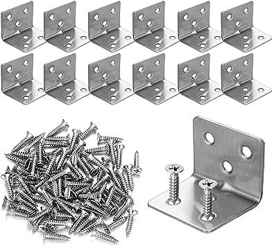 Shelf Corner Braces Frame Angle Bracket L Holder 90 Degrees Stainless Steel Set