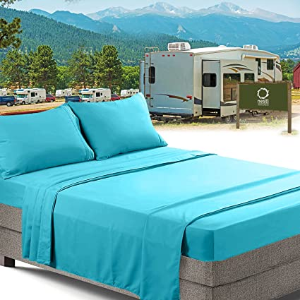 RV/Short Queen Bed Sheets Set Bedding Sheets Set For Campers, 4 Piece