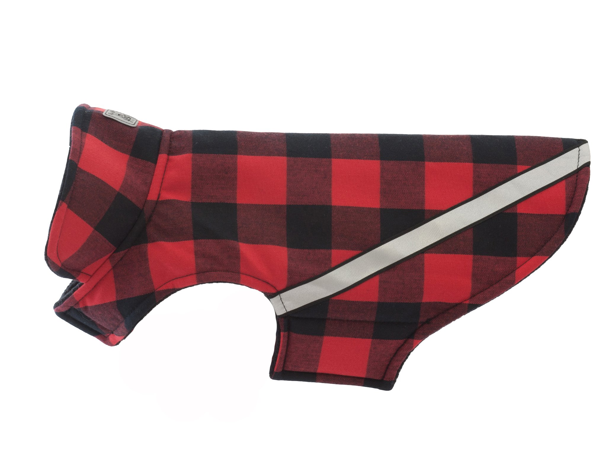 RC Pet Products West Coast Rainwear Raincoat, Fleece Lined, Water-Resistant, Reflective Dog Coat, Size 22, Red Buffalo Plaid