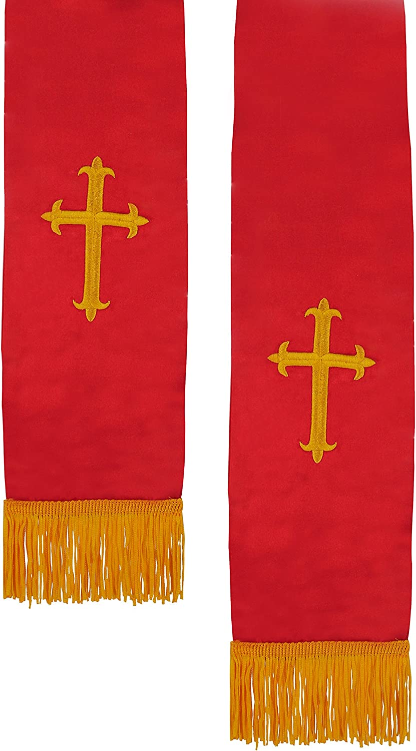 IvyRobes Unisex Adults Satin Church Clergy Stole with Gold Embroidery Cross Tassel 229cm