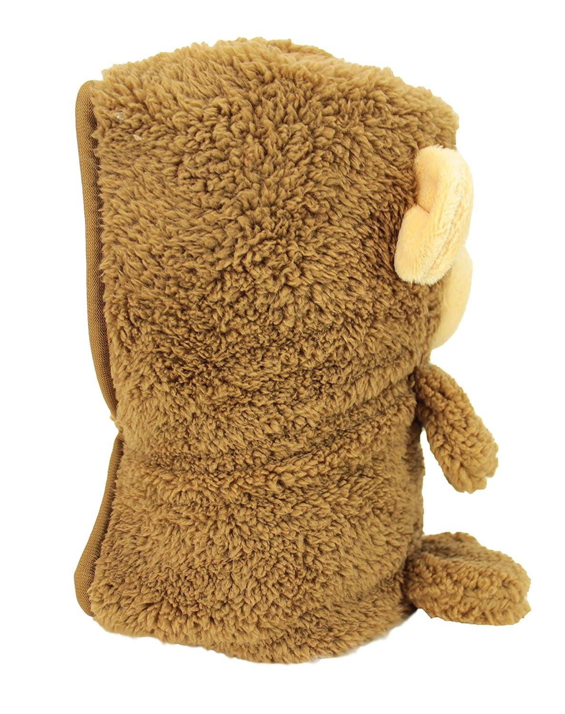 My Pet Blankie by Animal Adventure Machine Washable Ultra-Soft 3-in-1 Fleece Blanket Original Size Brown Monkey