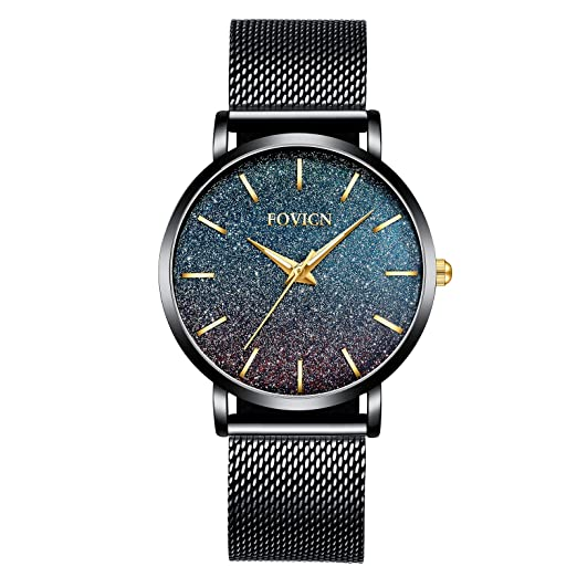 Relojes Ultra Delgados para Mujer, Malla Impermeable, Acero Inoxidable Negro con Oro, Moda para Mujer, Reloj de Pulsera de Cuarzo analógico, ...