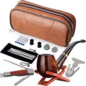 Scotte Tobacco Smoking Pipe,Leather Tobacco Pipe Pouch Pear Wood Pipe Accessories(Scraper/Stand/Filter Element/Filter Ball/Small Bag/Box) (Brown)