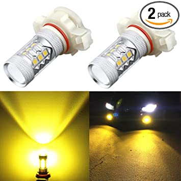 Alla Lighting 5201 5202 Led Fog Light Bulbs Xtreme Super Bright High Power 3030 Smd Car Truck Ps19w 12085 Ps24w 9009 Drl Replacement 3000k Golden
