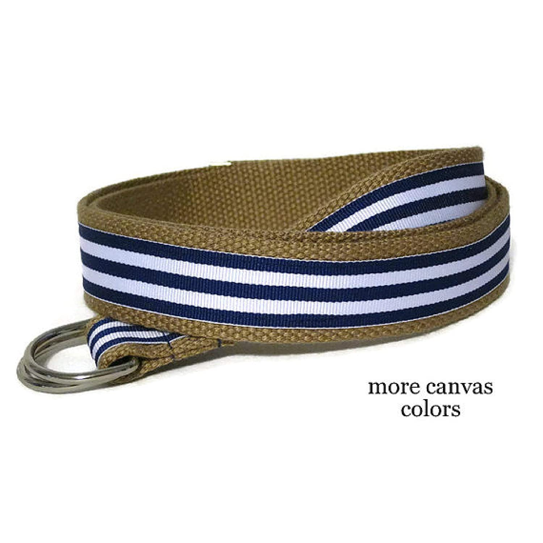 Mens Belt//Blue Striped Belt//Royal Blue Canvas Belt//Blue and White Striped D-ring Belt//Preppy Khaki Ribbon Belt for men women teens Big /& Tall