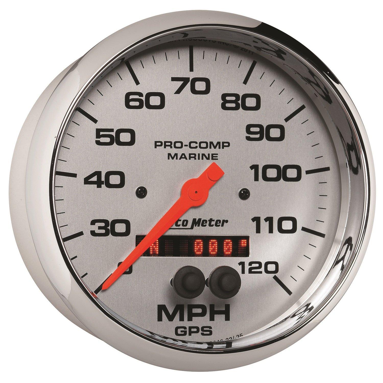 Speedometer 120Mph Auto Meter AutoMeter 200646-35 Ultra-Lite Gauge Marine Chrome GPS 5