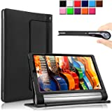 Lenovo Yoga Tab 3 10 Case Cover, Infiland Folio PU Leather Slim Stand Case Cover for Lenovo Yoga Tablet 3 10 10.1-Inch Tablet(with Auto Sleep / Wake Feature)(Not for Lenovo Yoga Tab 3 Pro/Yoga Tab 3 10 Plus) (Black)