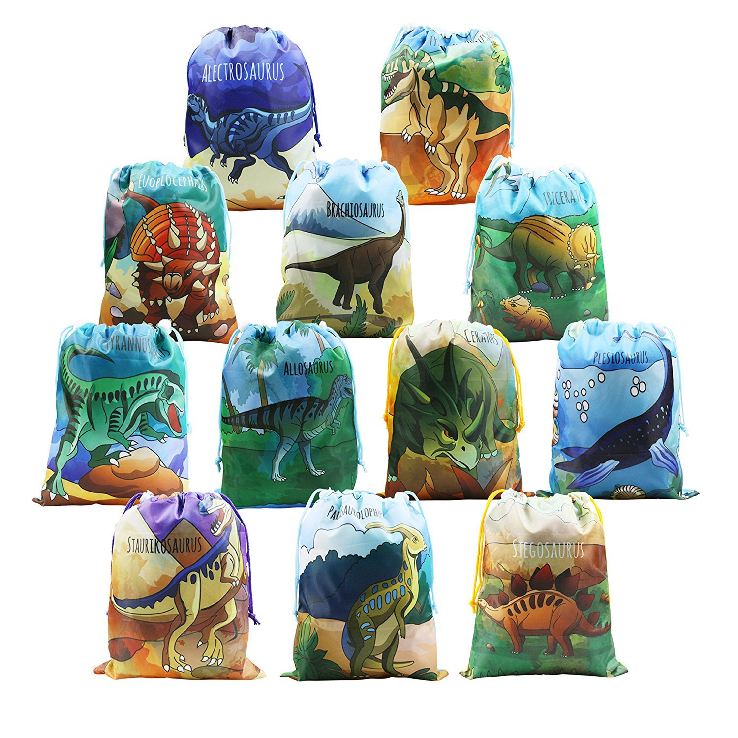 BeeGreen Dinosaur Party Supplies Favors Bags for Kids Boys and Girls Birthday 12 Pack Dino Drawstring Goody Gift Pouch (Dinosaur Party Bags) by BeeGreen