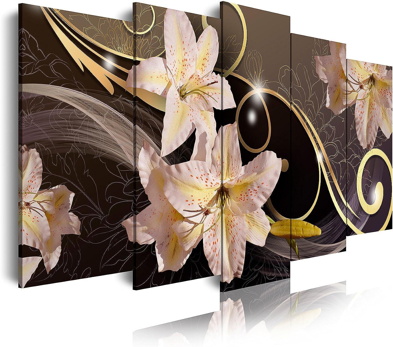 Dekoarte 419 - Cuadro moderno en lienzo de 5 piezas, diseño de flores blancas, con fondo oscuro 150x80cm