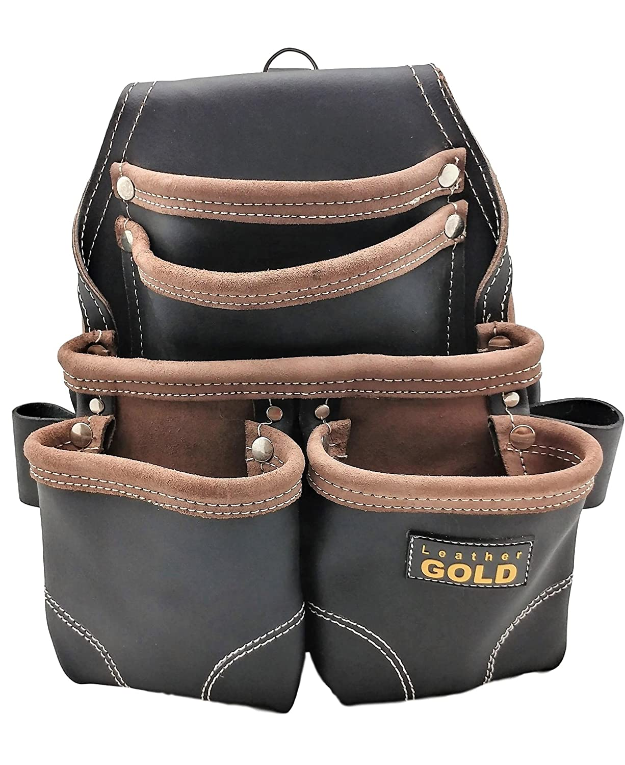 Leather Gold Nail Pouch | Leather Tool Pouch 3150DP 5 Pockets Black Oil Tanned Leather Heavy Duty Carpenter Tool Belt With Reinforced Seams and 2 Hammer Holders