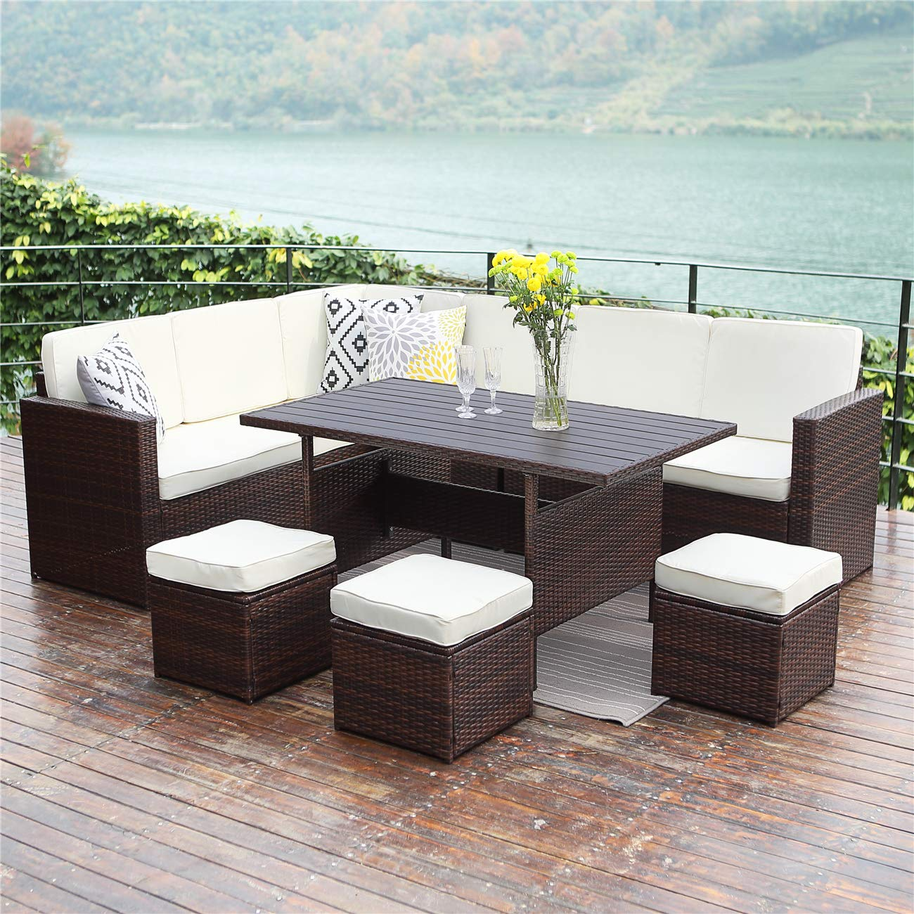 Wisteria Lane Patio Sectional Furniture Set,10 PCS Outdoor Conversation Set All Weather Wicker Sofa Table Chair Stool,Brown