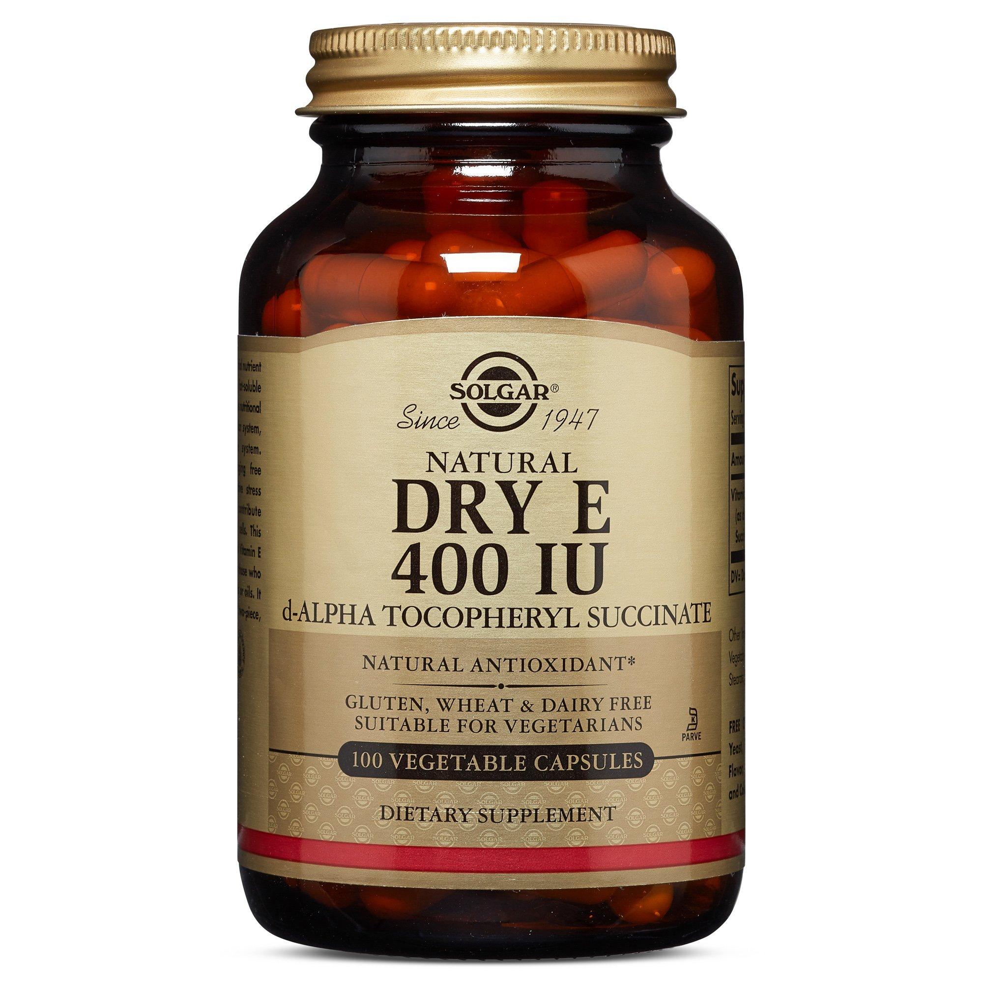 Solgar - Dry Vitamin E 400 IU (d-Alpha Tocopheryl Succinate) 100 Vegetable Capsules