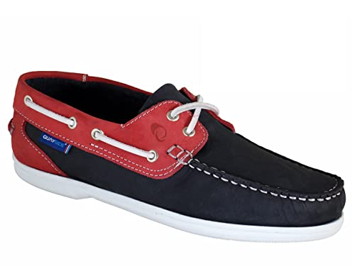50c25de241 QUAYSIDE Zapatos Náuticos/Mocasín de Cuero Para Mujer Azul Marino/Rojo:  Amazon.es: Zapatos y complementos