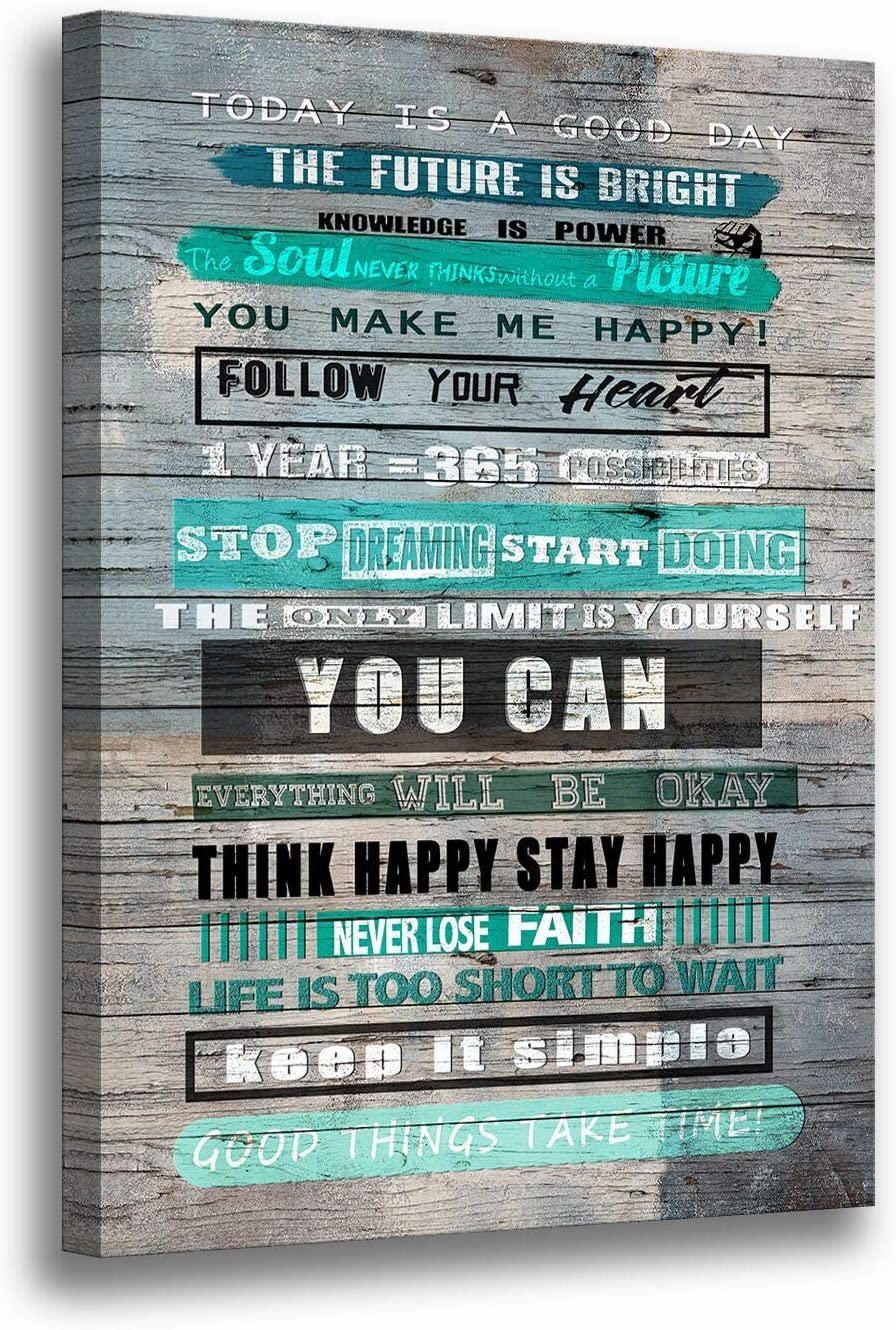 Inspirational Motivational Quotes Prints Wall Art for Living Room Bedroom Bathroom-Office Decor Artwork Gifts Size 12 x 16 inches
