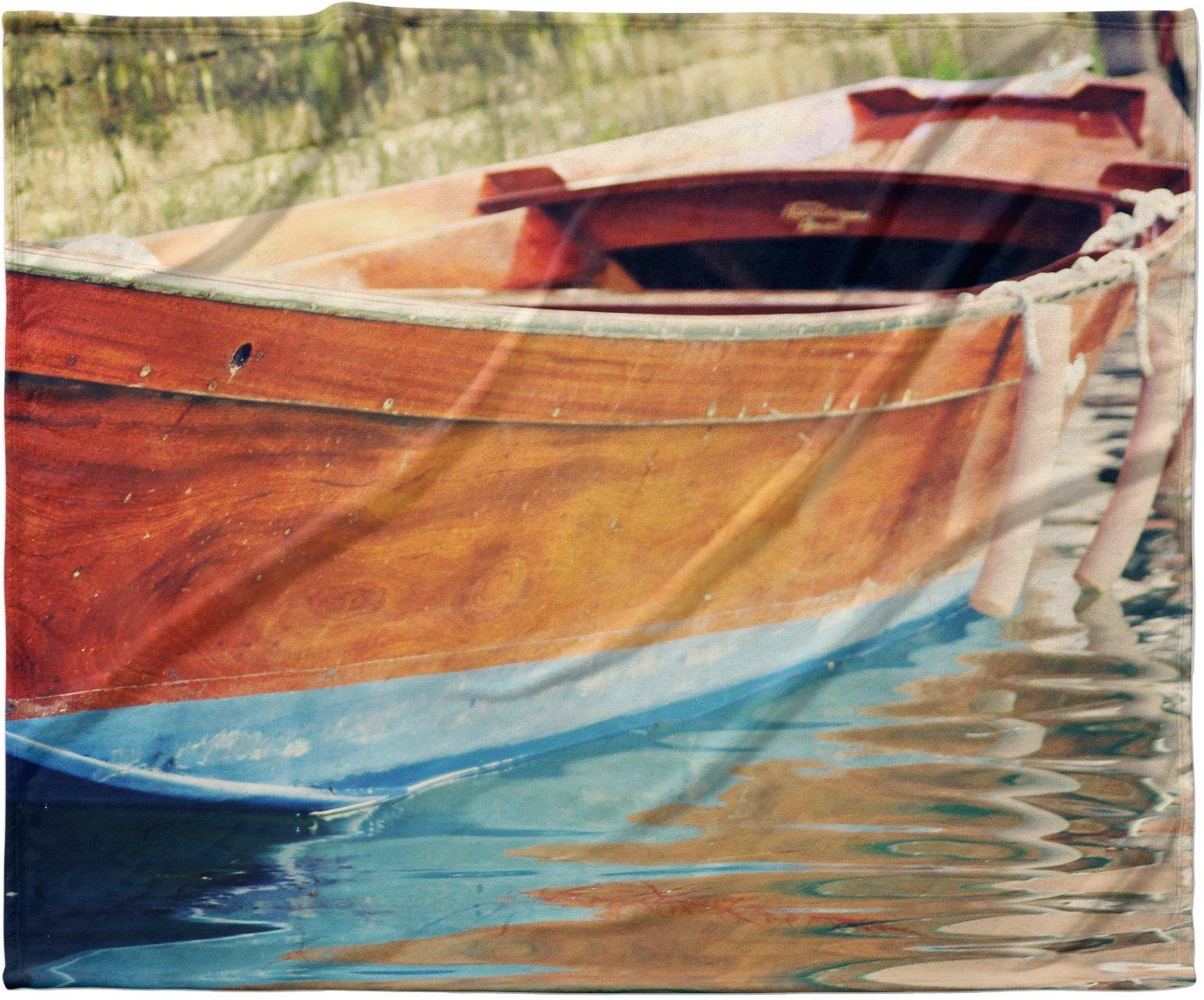 40 x 30 KESS InHouse Sylvia Coomes Venetian Boat Blue Brown Fleece Baby Blanket