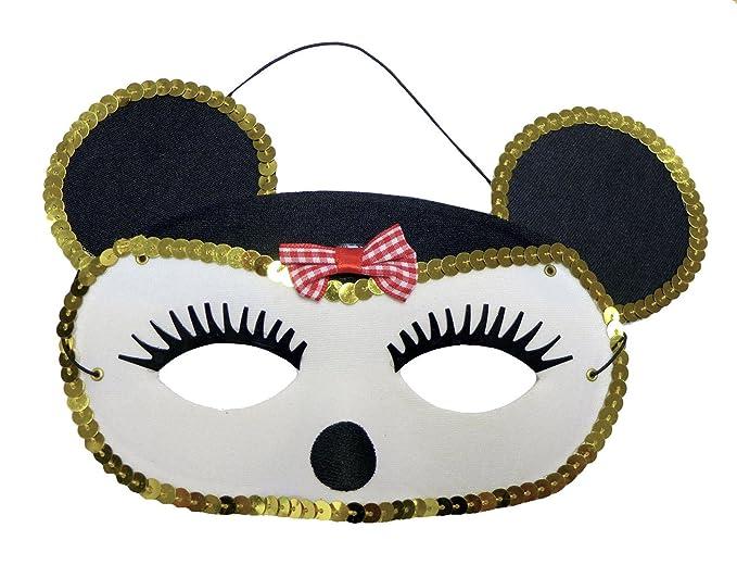(Minne Mouse Mask) Máscara De Ratón Adorable Con Lentejuelas Y Una Corbata De Lazo